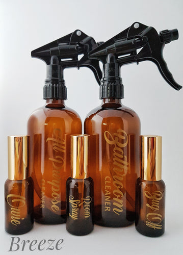 Spray Kit with customized LABELS - Amber bottles with Gold vinyl labels