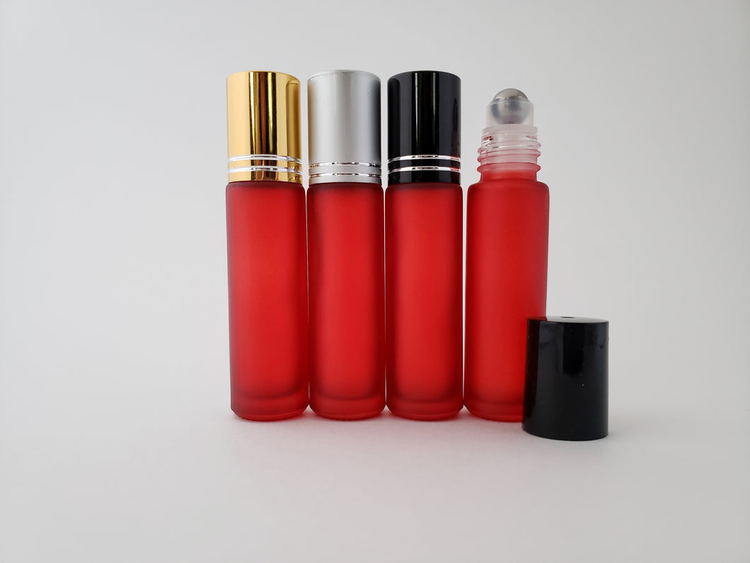10ml Frosted Red roller bottles