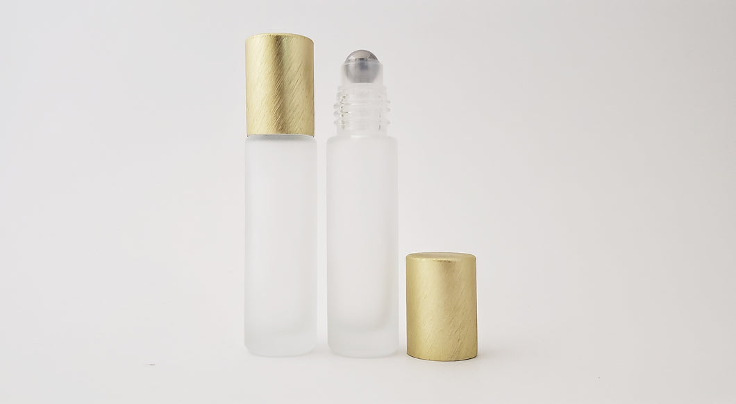 10ml Frosted White roller bottles with luxe brushed lids (pack of 5)