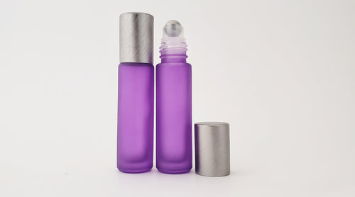 10ml Frosted Purple roller bottles with luxe brushed lids (pack of 5)