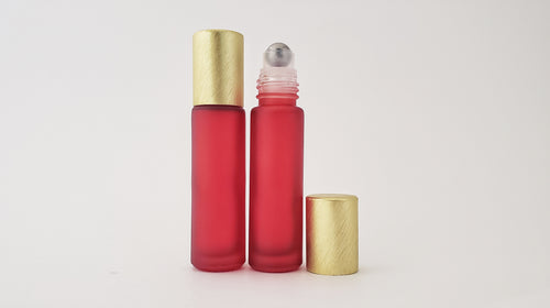 10ml Frosted Red roller bottles with luxe brushed lids (pack of 5)