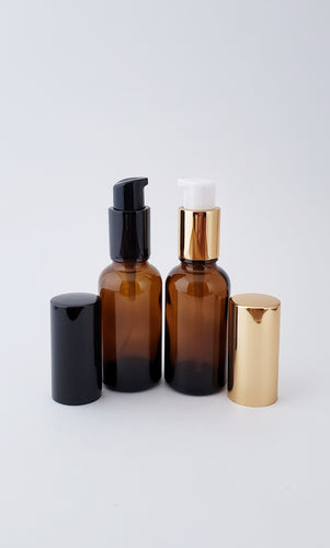 30ml amber bottle with lotion/serum pump