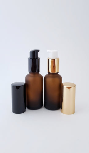 30ml Frosted Amber bottle with lotion/serum pump