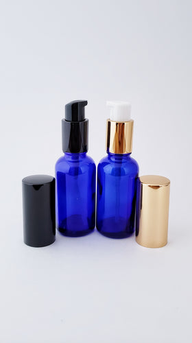 30ml blue bottle with lotion/serum pump