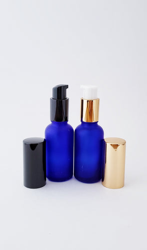 30ml Frosted Blue bottle with lotion/serum pump
