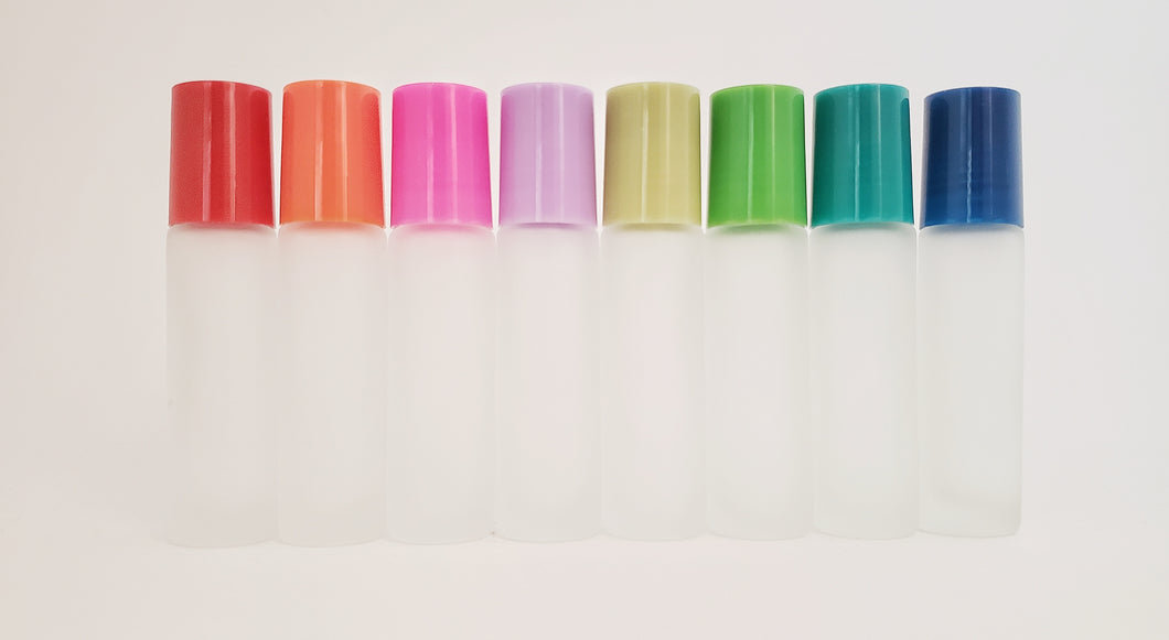 LIMITED EDITION 10ml frosted white with ONE-OFF colored lids (pack of 8)