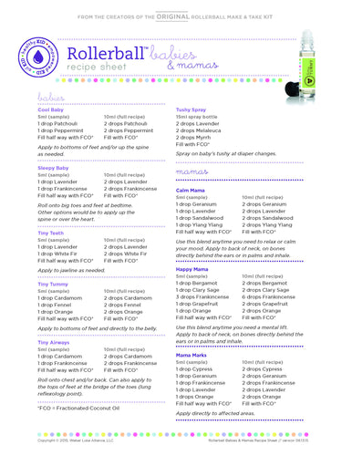 "Rollerball ""Babies & Mamas"" Recipe Sheet (single) 
