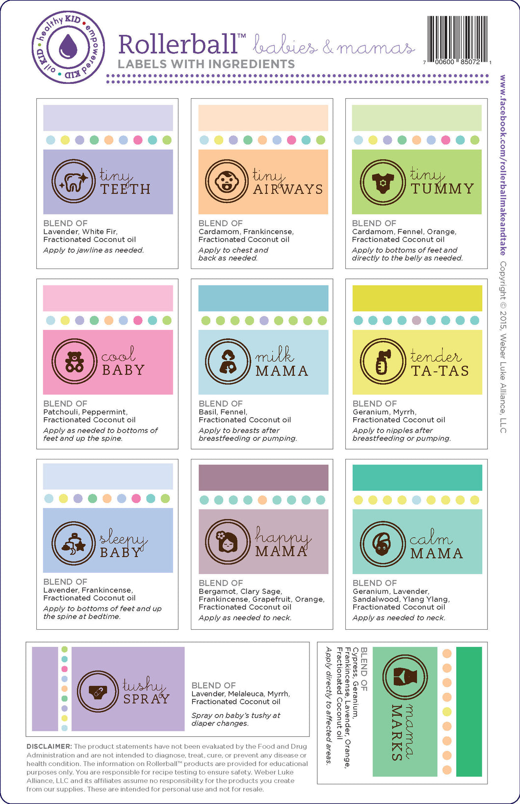 "Rollerball ""Babies & Mamas"" Assorted Label Set 