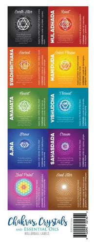 Chakras, Crystals and Essential Oils Rollerball Labels