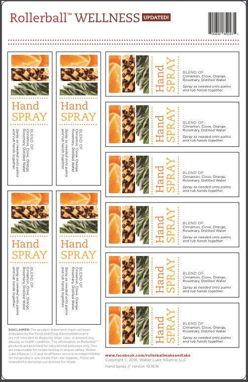 "Rollerball LIMITED EDITION spray labels - ""wellness"" (Hand Spray) 