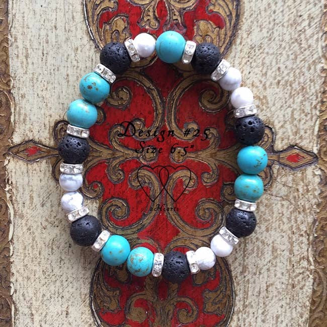 Chalk Turquoise, Howlite, Lava Beads and Rhinestones - Design #25