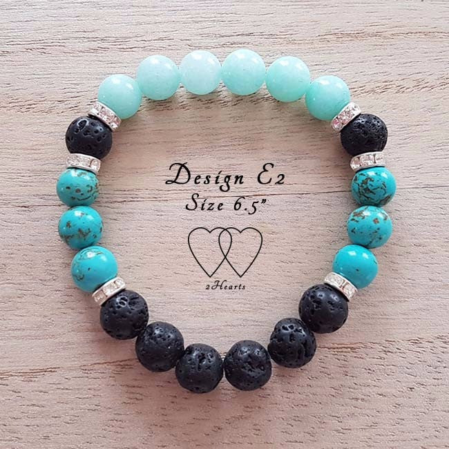 Amazonite, Chalk Turquoise, Lava Beads and Rhinestones - Design #E2