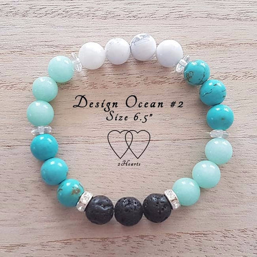 Amazonite, Chalk Turquoise, Lava Beads, Czech Rondelles Crystal and Rhinestones - Ocean Design #2