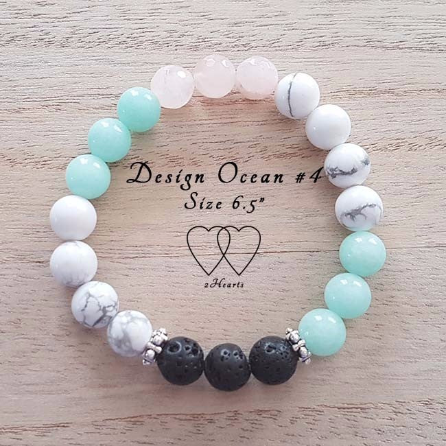 Amazonite, Howlite, Rose Quartz, Lava Beads and Tibetan rondelle spacers - Ocean Design #4