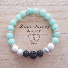 Amazonite, Howlite, Lava and Rhinestones - Design Ocean #3