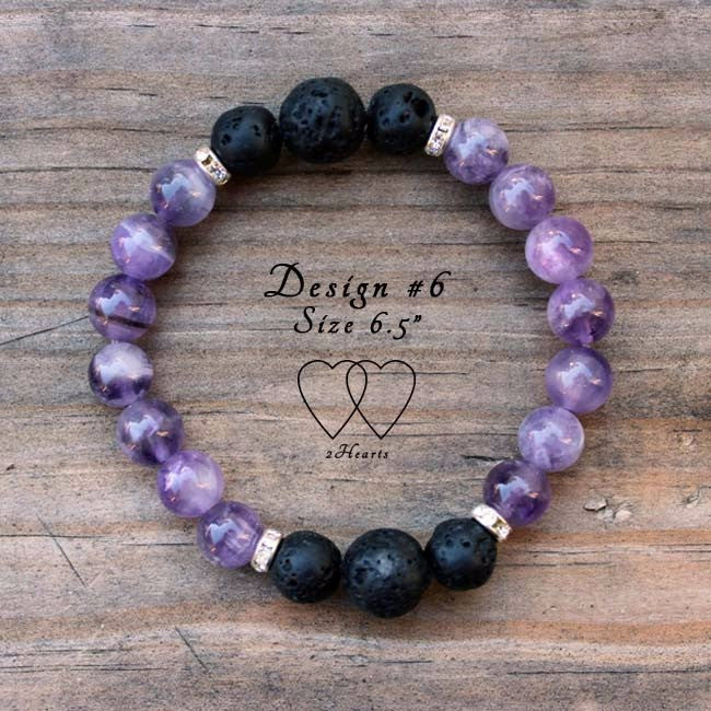 Amethyst, Lava Beads and Rhinestones Bracelet - Design #6