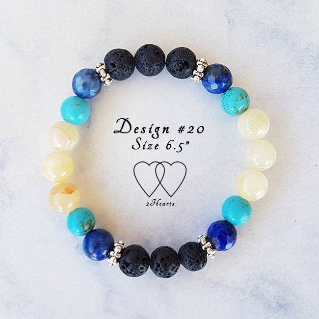 Chalk Turquoise, Honey Jasper, Lapis Lazuli, Lava Beads and Tibetan Style Silver Plated Rondelle Spacers - Design #20