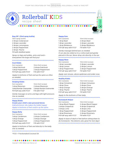 "Rollerball ""Kids"" Recipe Sheet (single) 