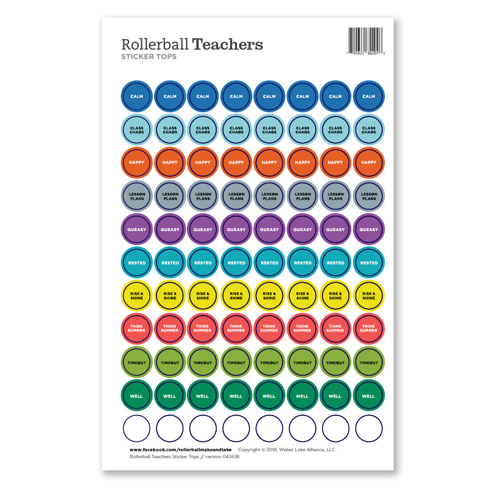 Rollerball Teachers Sticker Tops