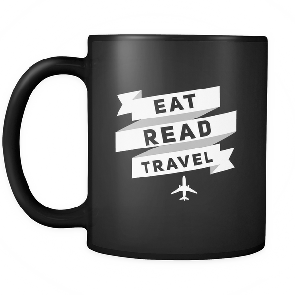 Eat, Read, Travel Mug- Black - OWTwear