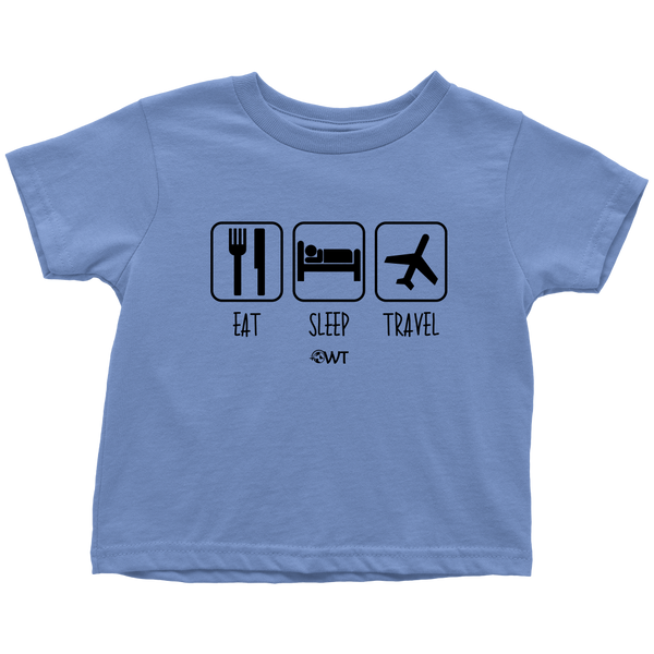 Eat Sleep Travel Toddler Shirt Black Design - OWTwear