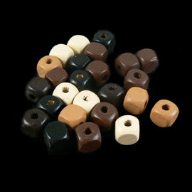 10mm rounded cube, painted wood bead assortment, .25lb (approx 250 beads)
