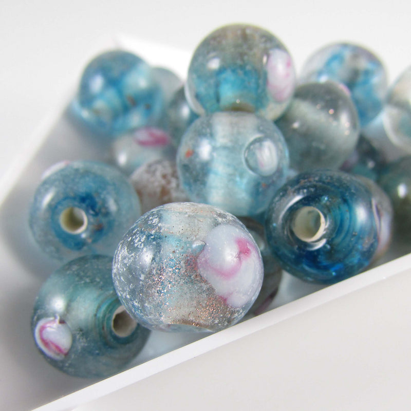 "10mm turquoise and gold with confetti accents lampwork glass round beads, 8"" strand (23 beads)"