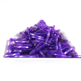 12mm x 2mm dark purple twisted bugle beads, Miyuki 2012, 25 grams, approx. 420 beads