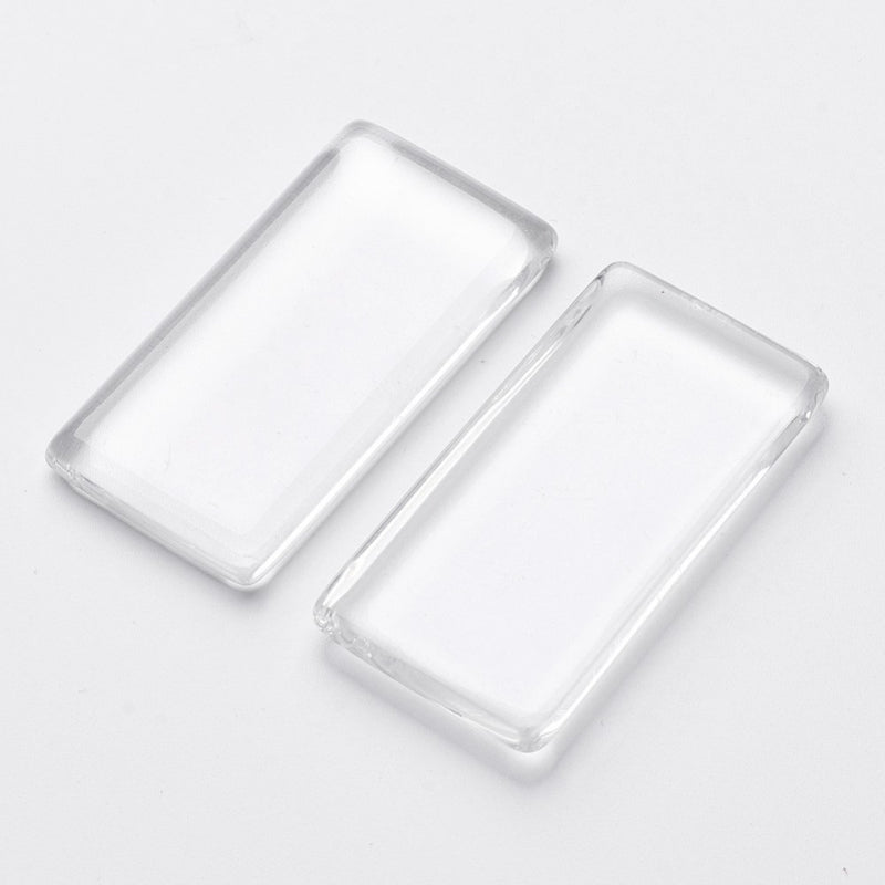 48mm x 24mm x 7mm thick clear glass, rectangle cabochons, 5 pcs.