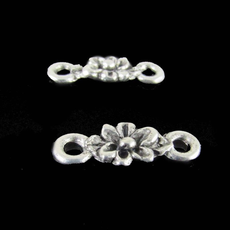 16mm x 5mm antiqued pewter flower link, 4 pcs.
