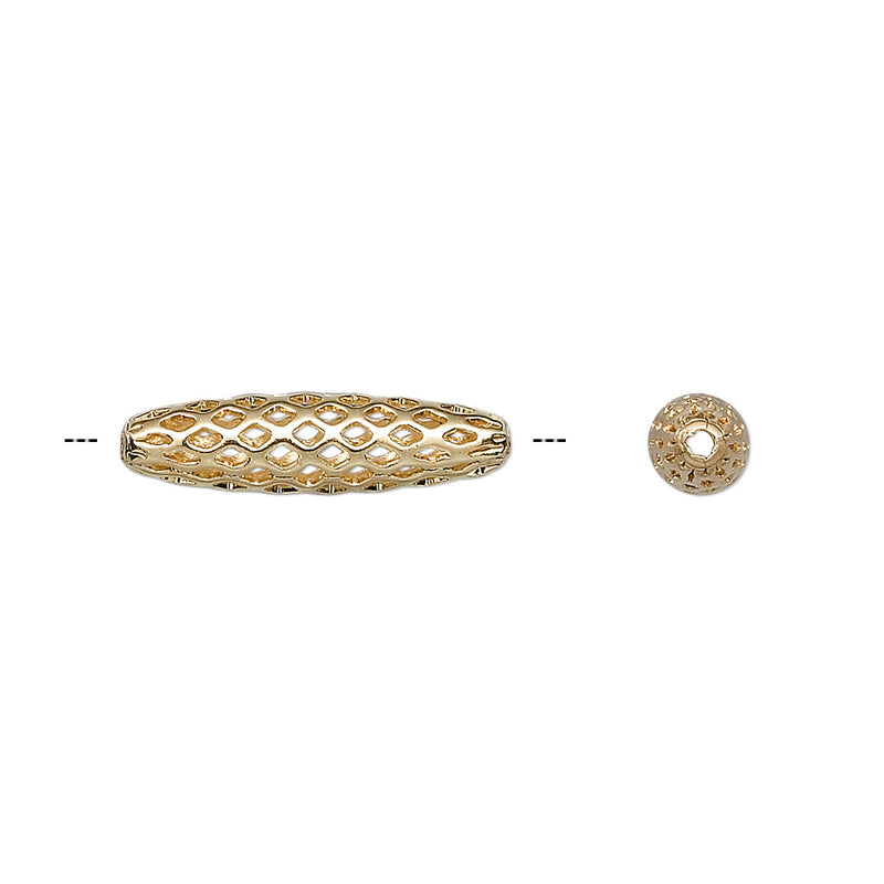 19mm x 5mm gold plated brass, open weave oval beads, 25 pieces