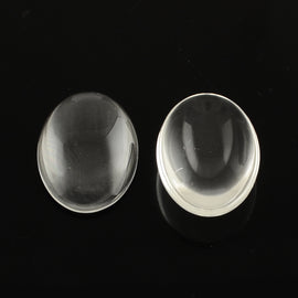 20mm x 15mm x 5mm tall clear glass, oval cabochons, 50 pcs.