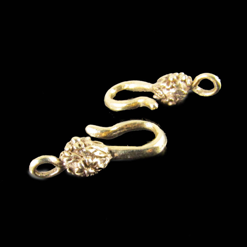 26mm x 7mm gold plated pewter flower hook / end for clasps, 2 pcs.