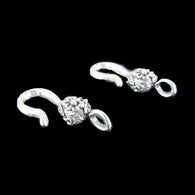 26mm x 7mm pewter flower hook / clasp end, 2 pcs.