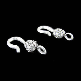 26mm x 7mm pewter flower hook / end for clasps, 2 pcs.