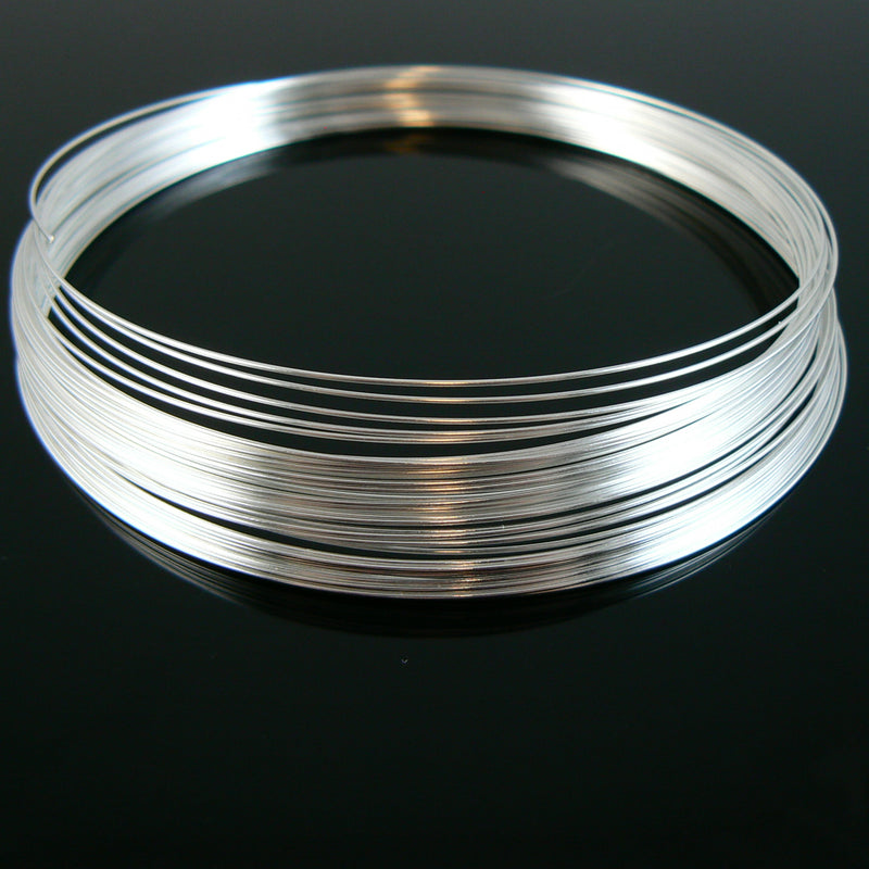 "3.6"" diameter silver plated stainless steel necklace memory wire, 1 oz. (approx. 38 loops)"