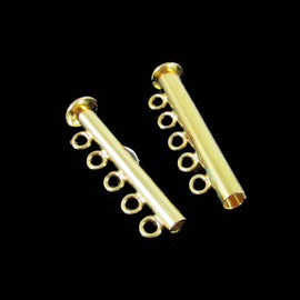30 x 10 mm gold plated brass, 5 strand clasps, 4 clasps