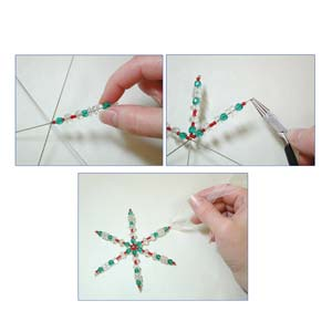 "3.75"" wire snowflake forms, .8mm diameter wire, package of 8 forms"