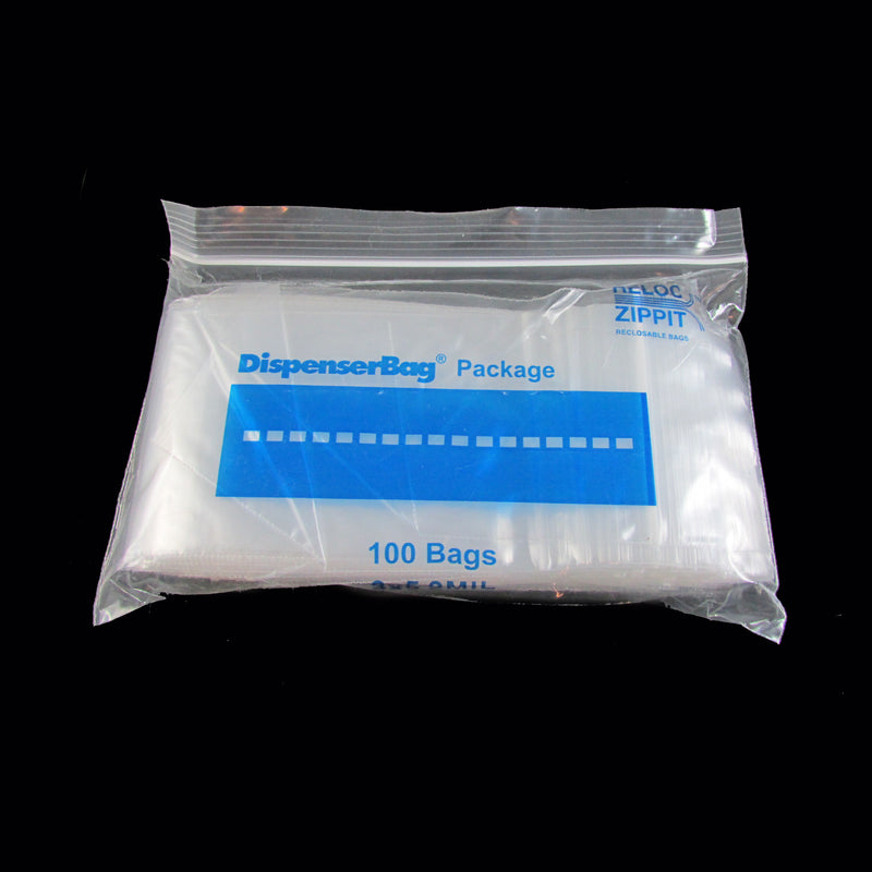 "3"" x 5"" inch, zip top reclosable storage bags, 2 mil thick, 100 pcs."