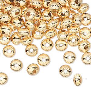 4.5 x 3mm gold plated brass corrugated saucer beads, 25 pieces