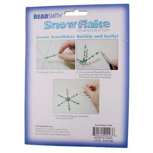 "4.5"" Beadsmith wire snowflake forms, .8mm diameter wire, package of 7 forms."