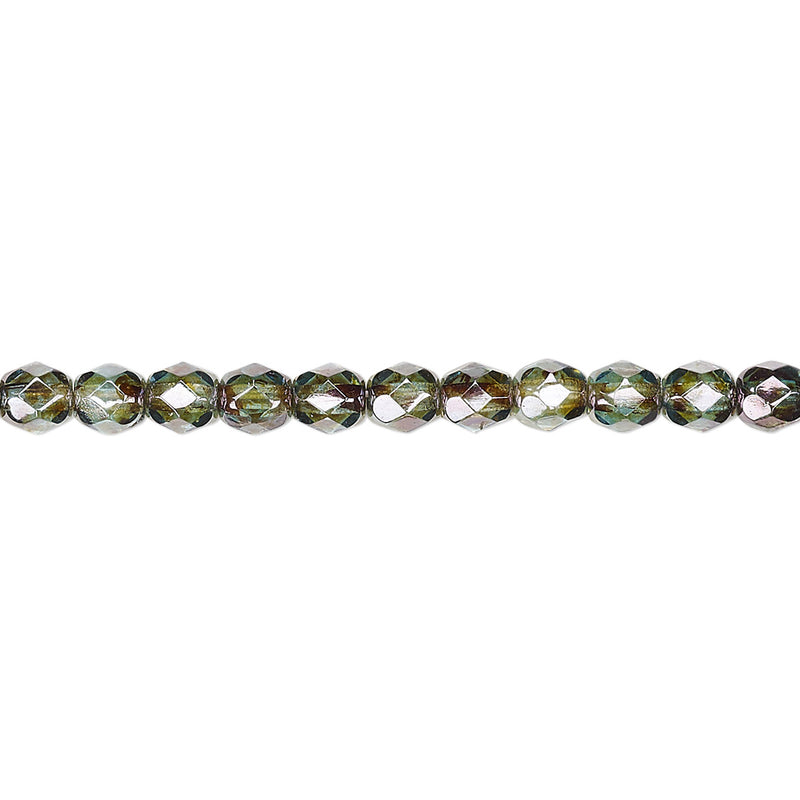 "4mm faceted round, transparent peridot green luster Czech fire-polished glass beads, 8"" strand (49- 50 beads)."
