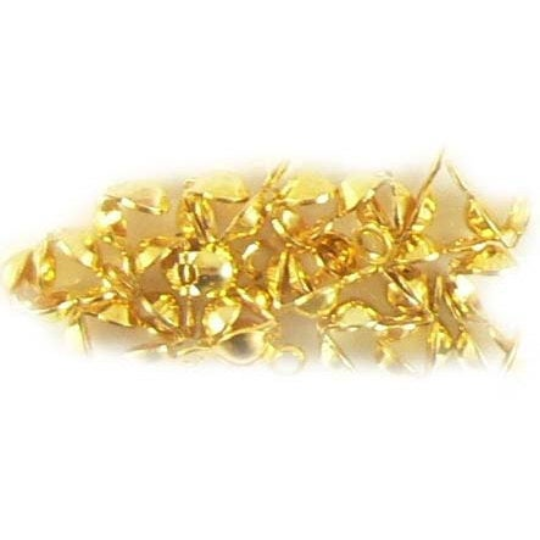 4mm, single loop, gold plated clamshell bead tips, 36 pcs. 6.5mm when closed x 4mm wide.