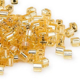 4mm silver lined gold square beads, Miyuki # SB3, 20gm, ~208 beads