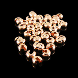 4mm copper plated metal crimp covers, 36 or 72 pcs