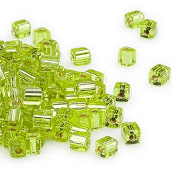 4mm silver lined lime green square beads, Miyuki # SB14, 20 grams