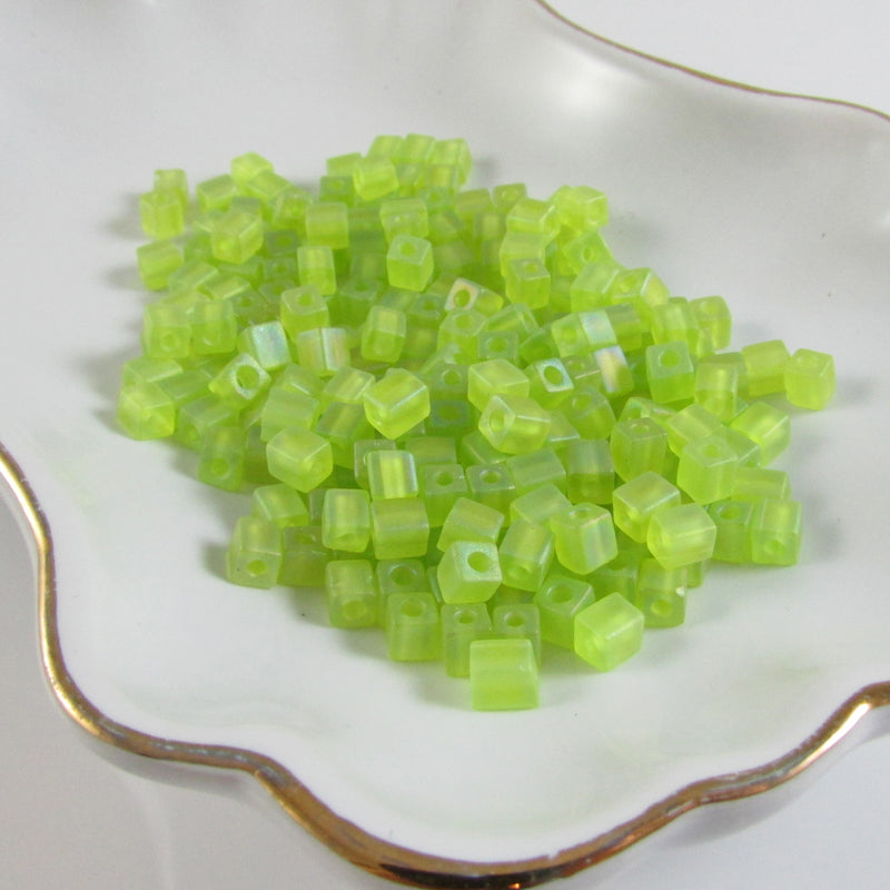 4mm transparent frosted rainbow lime green square beads, Miyuki # SB143FR, 20 grams