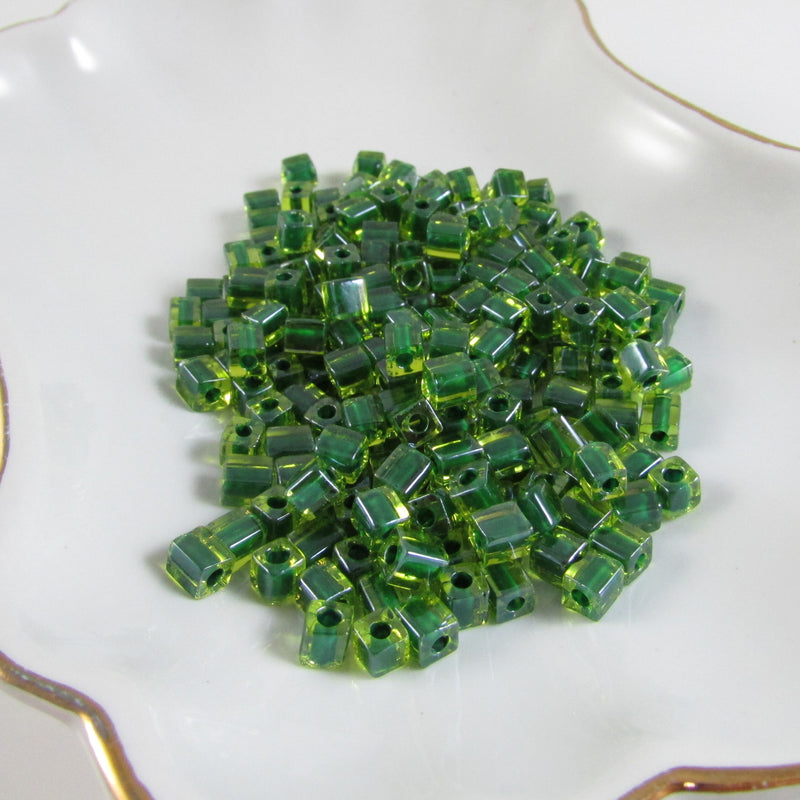 4mm green color lined green square beads, Miyuki # SB2632, 20 grams, approx. 208 beads.
