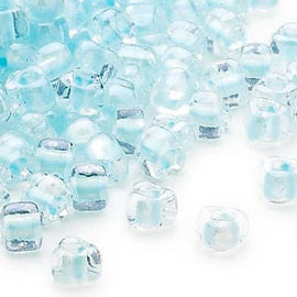 4mm clear color lined ice blue Miyuki # TR1112 triangle glass beads, 20 grams