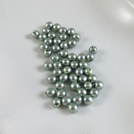"4mm matte metallic green glass pearls, 8"" strand (50 beads)"